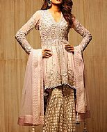 Pink/Golden Chiffon Suit.- Pakistani Party Wear Dress
