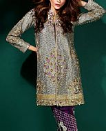 Grey/Indigo Silk Suit- Pakistani Formal Designer Dress