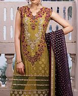 Olive Chiffon Jamawar Suit- Pakistani Formal Designer Dress