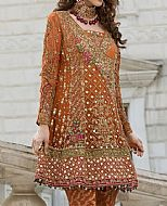 Rust Crinkle Chiffon Suit- Pakistani Party Wear Dress
