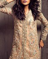 Peach Crinkle Chiffon Suit- Pakistani Party Wear Dress