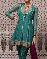 Teal Crinkle Chiffon Suit- Pakistani Formal Designer Dress