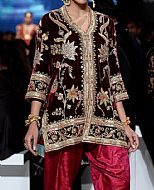 Maroon Velvet Suit- Indian Designer Dress