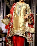 Golden/Red Raw Silk Suit- Pakistani Party Wear Dress