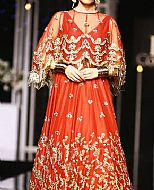 Safety Orange Crinkle Chiffon Suit- Pakistani Formal Designer Dress