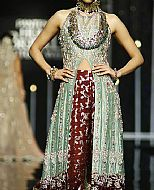 Sea Green/Chocolate Silk Suit- Pakistani Formal Designer Dress