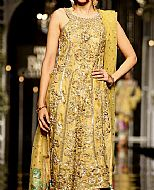 Gold Crinkle Chiffon Suit- Pakistani Party Wear Dress