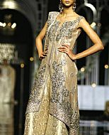 Fawn/Gold Crinkle Chiffon Suit- Pakistani Party Wear Dress
