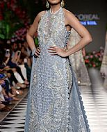 Baby Blue Crinkle Chiffon Suit- Pakistani Formal Designer Dress