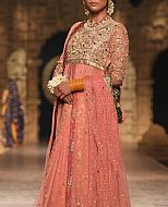 Tea Pink Jamawar Chiffon Suit- Pakistani Formal Designer Dress