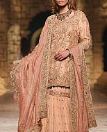 Peach Crinkle Chiffon Suit- Pakistani Bridal Dress
