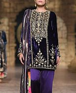 Navy Blue Velvet Suit- Pakistani Formal Designer Dress