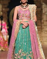 Pink/Sea Green Crinkle Chiffon Suit- Pakistani Party Wear Dress