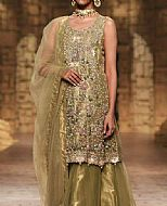 Olive Green Organza  Suit- Pakistani Formal Designer Dress