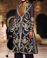 Navy Blue Crinkle Chiffon Suit- Pakistani Formal Designer Dress