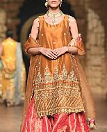 Bronze/Pink Crinkle Chiffon Suit- Pakistani Party Wear Dress