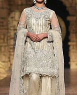 Off-white/Silver Crinkle Chiffon Suit- Pakistani Formal Designer Dress