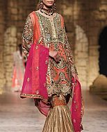 Coral/Golden Crinkle Chiffon Suit- Pakistani Formal Designer Dress