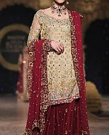 Light Golden/Maroon Crinkle Chiffon Suit- Pakistani Party Wear Dress