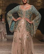 Turquoise/Tan Crinkle Chiffon Suit- Pakistani Party Wear Dress