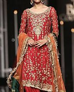Red Crinkle Chiffon Suit- Pakistani Party Wear Dress