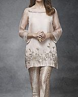 Ivory/Beige Crinkle Chiffon Suit- Pakistani Party Wear Dress