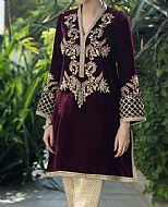 Magenta Velvet Suit- Pakistani Formal Designer Dress