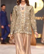 Fawn Crinkle Chiffon Suit- Pakistani Formal Designer Dress