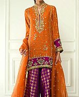 Rust/Purple Crinkle Chiffon Suit- Pakistani Party Wear Dress