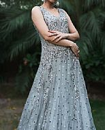 Grey Crinkle Chiffon Suit- Pakistani Wedding Dress