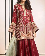 Maroon Jacquard Suit- Pakistani Formal Designer Dress