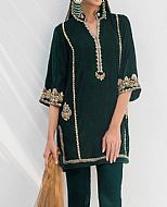 Bottle Green Velvet Suit- Pakistani Party Wear Dress