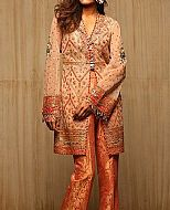Peach/Orange Chiffon Suit- Pakistani Formal Designer Dress