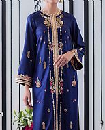 Blue Jamawar Suit- Pakistani Formal Designer Dress