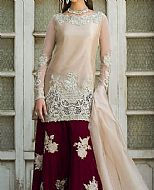 Ivory/Maroon Organza Suit- Pakistani Party Wear Dress