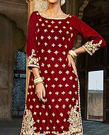Maroon Velvet Suit- Pakistani Party Wear Dress