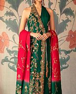 Bottle Green Silk Suit- Pakistani Party Wear Dress