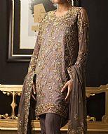Mauve Crinkle Chiffon Suit- Pakistani Formal Designer Dress