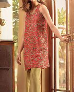 Coral Raw Silk Suit- Pakistani Party Wear Dress