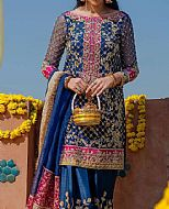 Royal Blue Crinkle Chiffon Suit- Pakistani Formal Designer Dress