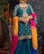 Teal Blue Crinkle Chiffon Suit- Pakistani Party Wear Dress