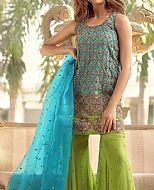 Turquoise/Parrot Organza Suit- Pakistani Formal Designer Dress