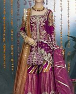 Pakistani party dress - Magenta Crinkle Chiffon Suit