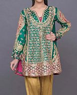 Pakistani party dress - Emerald Crinkle Chiffon Suit