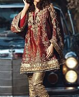 Maroon/Golden Jamawar Suit- Pakistani Party Wear Dress