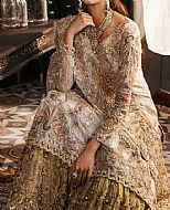 Off-white/Olive Crinkle Chiffon Suit- Pakistani Wedding Dress