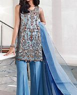 Cornflower Blue Crinkle Chiffon Suit- Pakistani Formal Designer Dress