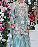 Turquoise Crinkle Chiffon Suit- Pakistani Bridal Dress