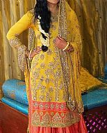 Yellow Crinkle Chiffon Suit- Pakistani Bridal Dress