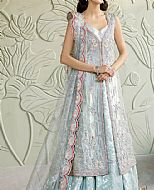 Silver Raw Silk Suit- Pakistani Wedding Dress